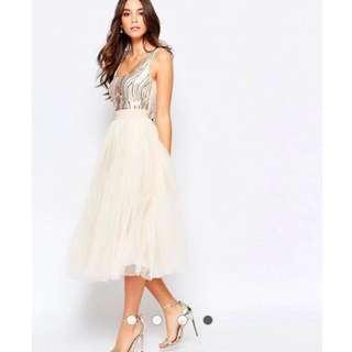 {Best Price} Little Mistress Sequin Midi Dress With Tulle Skirt - Brand New, UnUsed