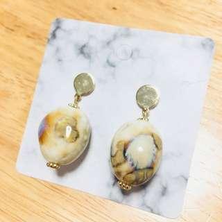 復古 歐美 天然石 耳環