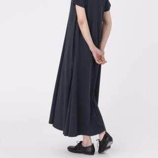 無印良品 MUJI🔸有機棉短袖寬版洋裝🔸低調暗藍