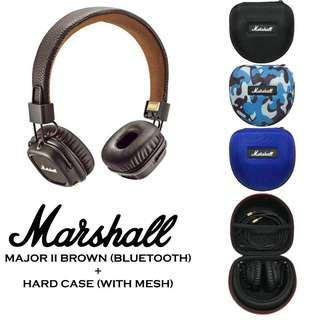 [EXCLUSIVE BUNDLE] Authentic Marshall Major II 2 Bluetooth Headphone Brown + EVA Hard Cover Carry Case With Mesh Bundle