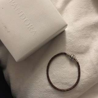 Pandora authentic brown leather bracelet