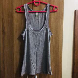 Benetton top with silver beads