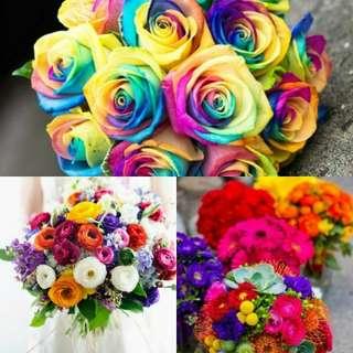 bouquet pernikahan, bungapotong segar, daun dekorasi segar