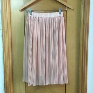 [Pan-Natural]粉紅色 雪紡百褶裙-Free Size,橡筋裙頭🌸👗(85%新)