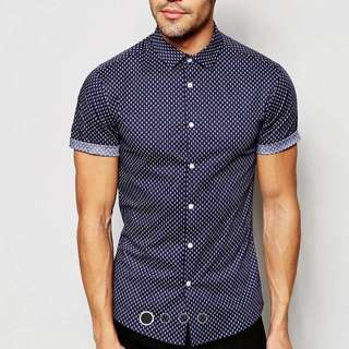 Asos Skinny shirt in navy with square print