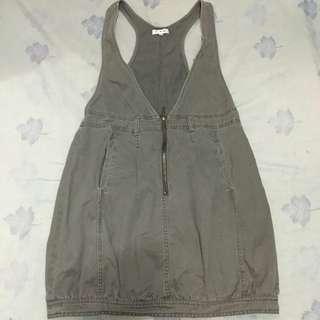 Cache Cache Faded Gray Denim Jumper Dress