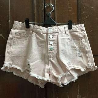 韓衣 粉色 高腰 破褲 熱褲 牛仔 短褲
