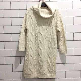 Cream Knit Wool Dress Turtle Neck