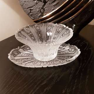 Unique Handmade Crystal Dish with Tray