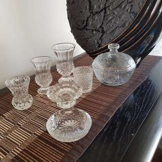 Lot of Crystal items Vase, candle holder, bowl etc