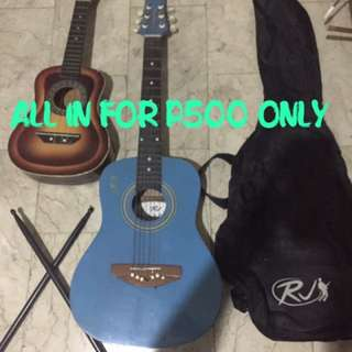 Play Some Good Music with this music Bundle: RJ Baby Masa Guitar w/ Case (Blue) Ukelele (Brown) with FREE Black Plastic Drumsticks Bundle