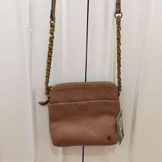 Elliott Lucca light brown leather crossbody bag