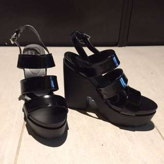 3-strap black heels