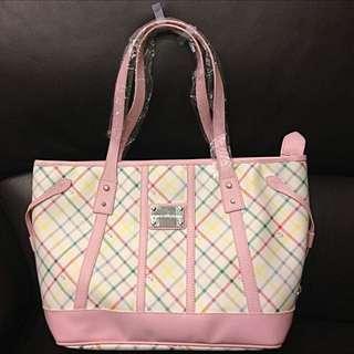 雨傘牌 粉色格紋精典側背包