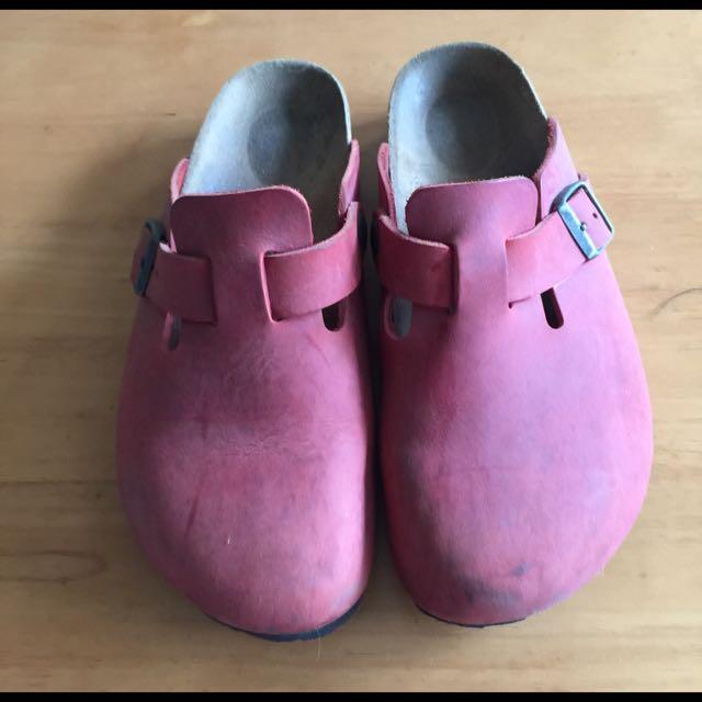 勃肯 酒紅拖鞋