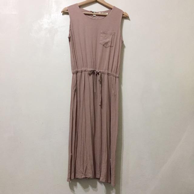 近全新 韓製藕粉無袖棉麻連身長洋裝