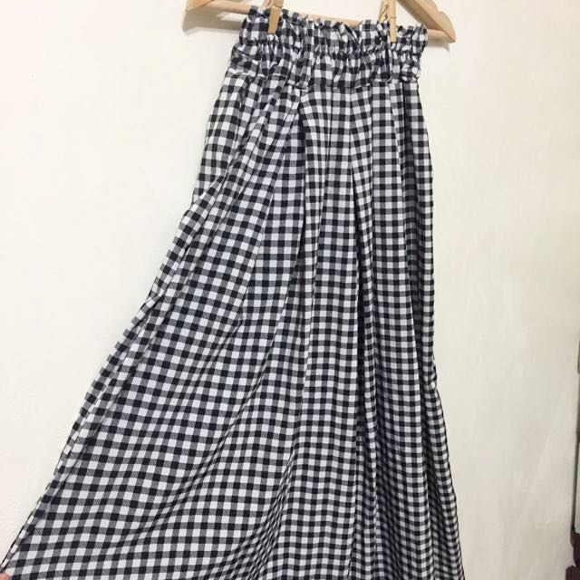 韓國購入 花苞鬆緊褲頭格高腰紋長裙