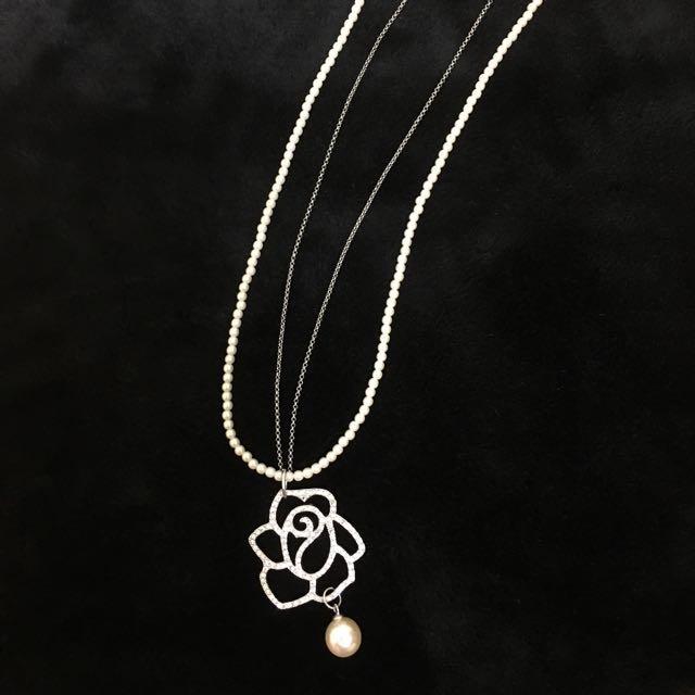 氣質珍珠長項鍊 玫瑰鑲鑽珍珠華麗雙鍊項鍊