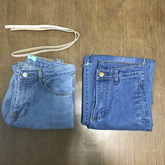 牛仔褲九分褲 高腰直筒牛仔褲