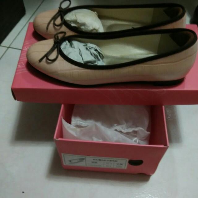 粉紅 鱷魚紋 芭蕾舞鞋 娃娃鞋