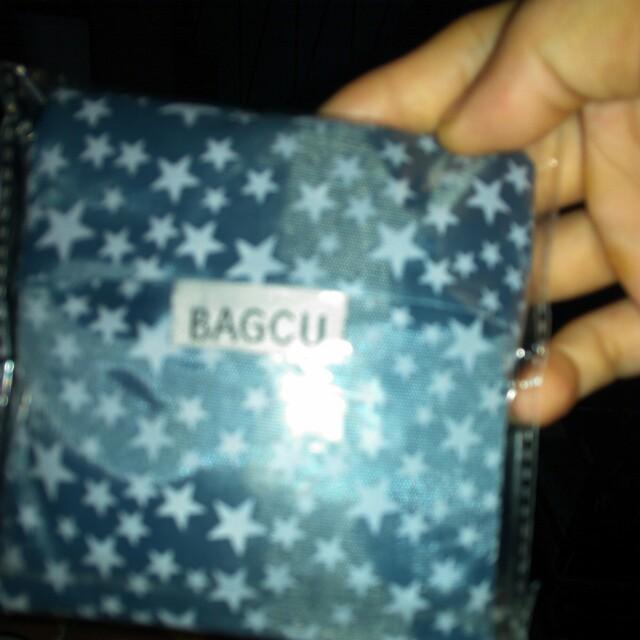 環保 可折疊購物袋 收納包 環保袋 輕薄方便 旅行 購物 隨身攜帶(深藍色星星)