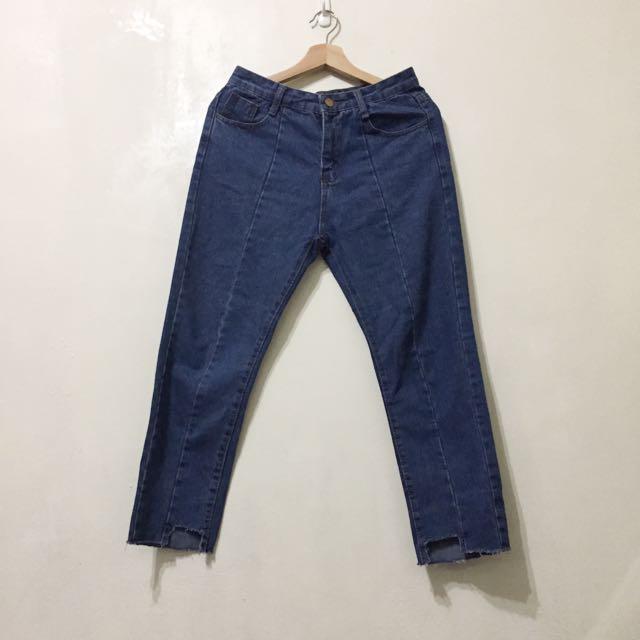 近全新 L號不規則收邊牛仔直筒褲