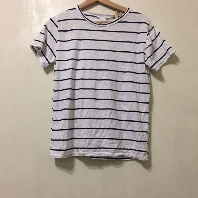 近全新 清新白色條紋棉質T恤