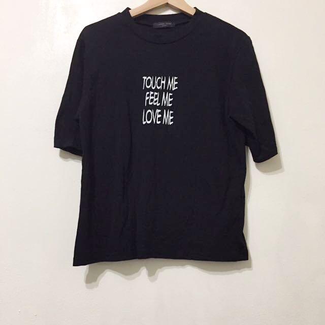 近全新 韓製英文膠字七分袖棉質T恤