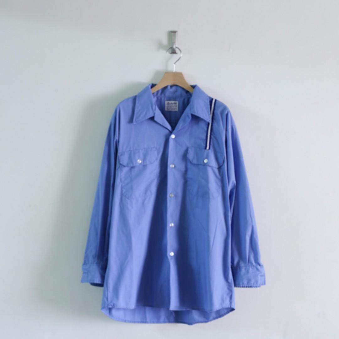 古著 VINTAGE / 美國 長袖 工作襯衫 藍色