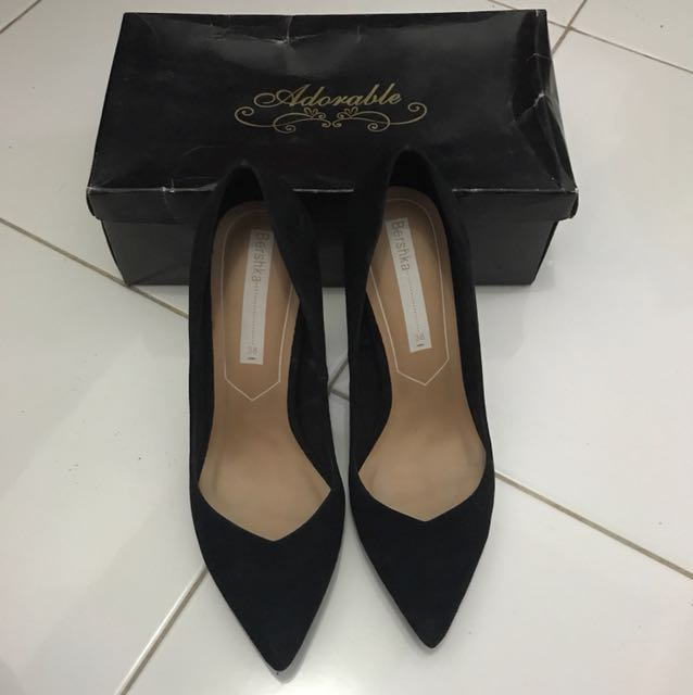 Bershka Black High Heels Shoes Size 38