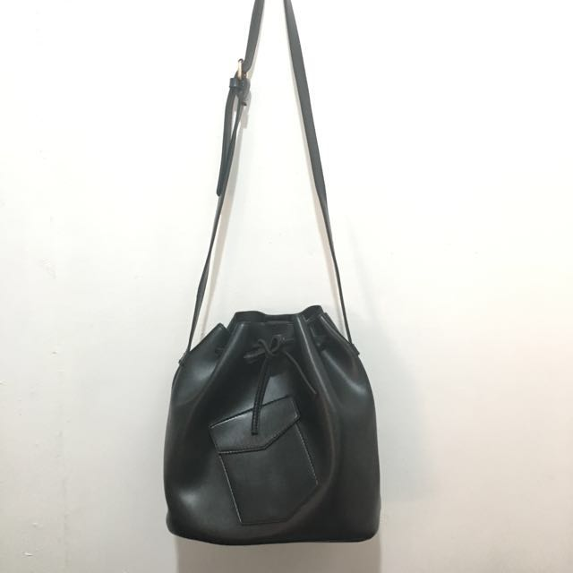 Black Leatherette Bucket Bag