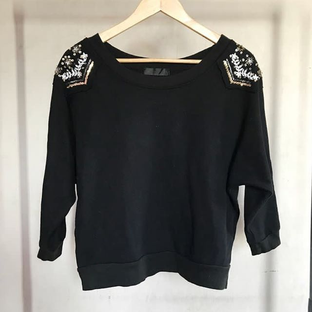 BLACK PULLOVER w/ embellished shoulders