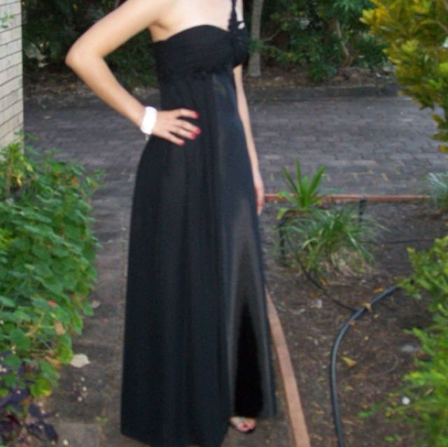 Black Satin and mesh formal/ evening dress