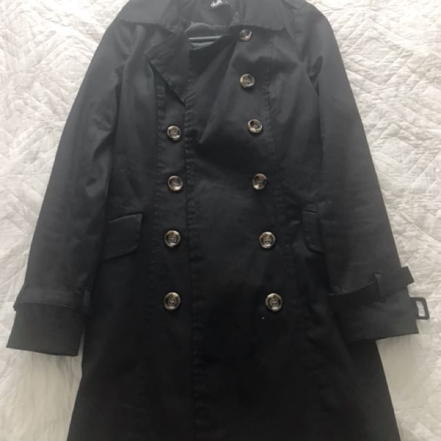 Black trench coat size 6