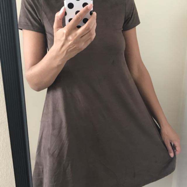 Brown faux suede dress, size S