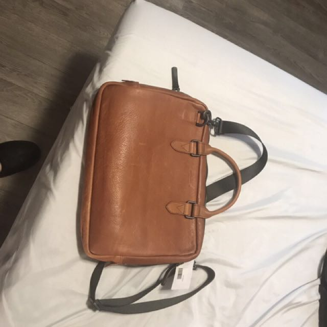 Brown Italian leather laptop bag