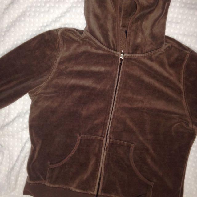 Brown Soft Velvet Hoodie