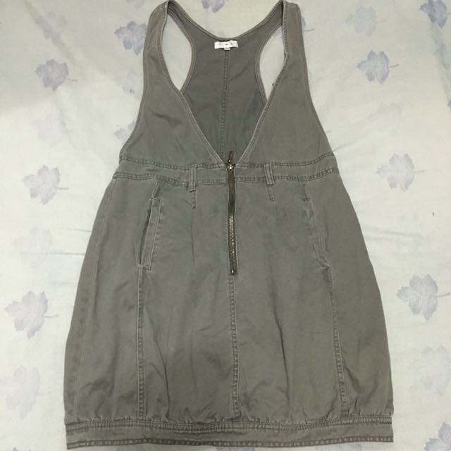 Cache Cache Faded Gray Denim Jumper Dress