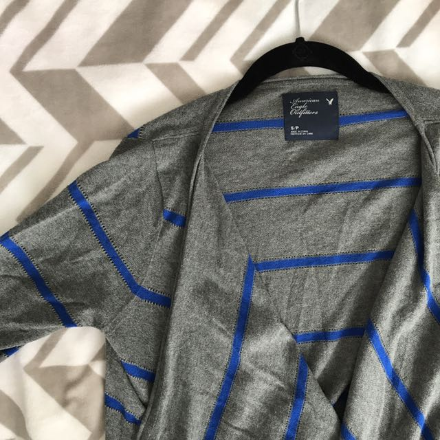 Cardigan - grey with blue stripes