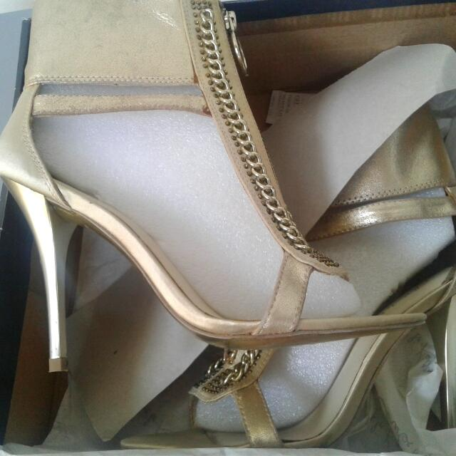 Charles & Keith Gold Stiletto Shoes