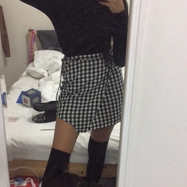 Checkered Wrap Skirt