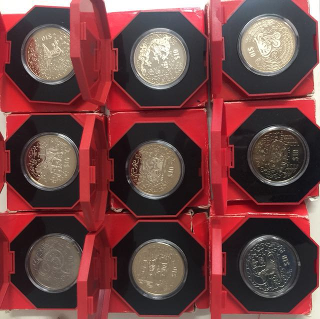 Chinese Zodiac 1994 to 1996 and 1998 to 2003 proof like coins 9pcs