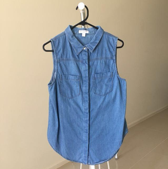 Cotton On Sleeveless Chambray Top Shirt Size XS