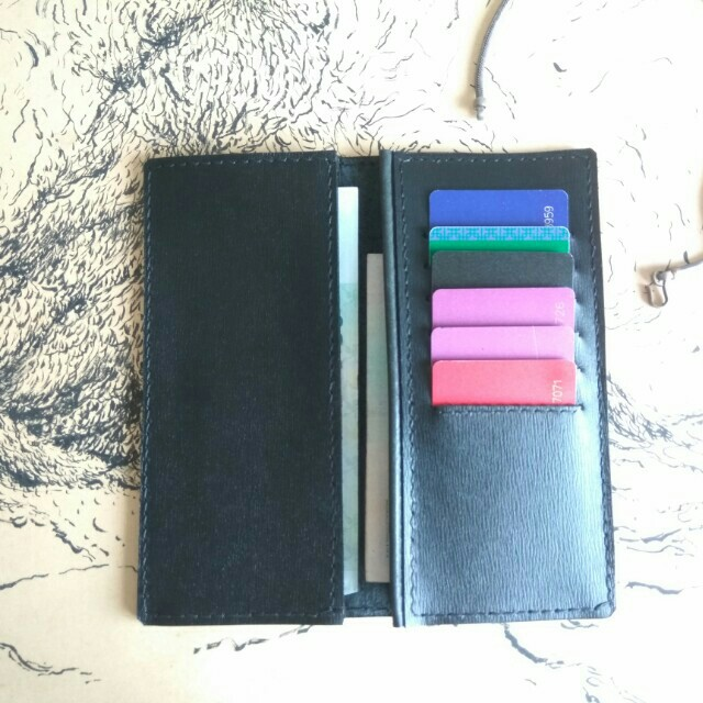 Customize leather simple long Wallet+free name emboss