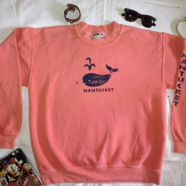 CUTE VINTAGE Nantucket Whale Print Cotton Fleece Sweater