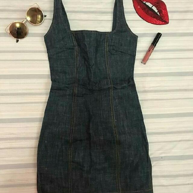 denim mini dress