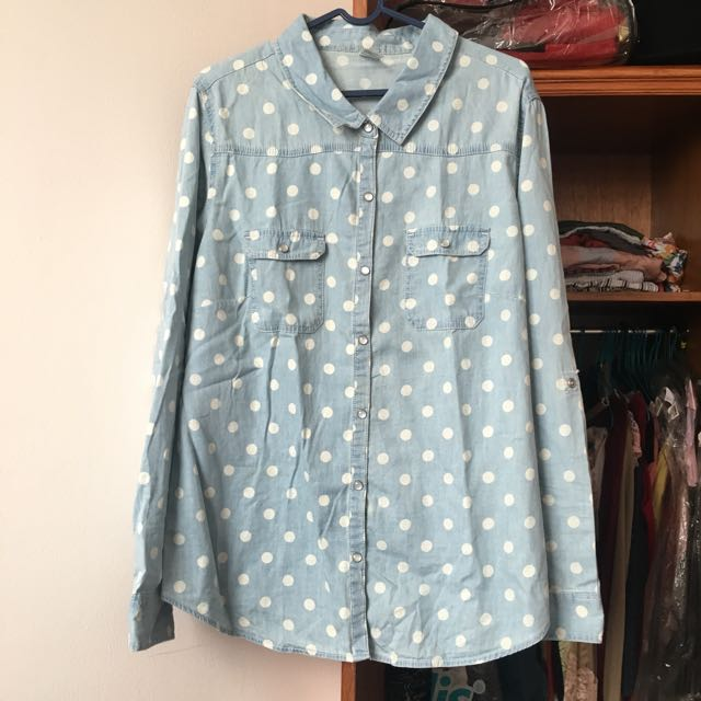 Denim Polkadot Buttondown size AUS18 (XL)