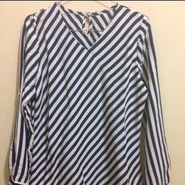 Diagonal Stripe Navy & White Blouse