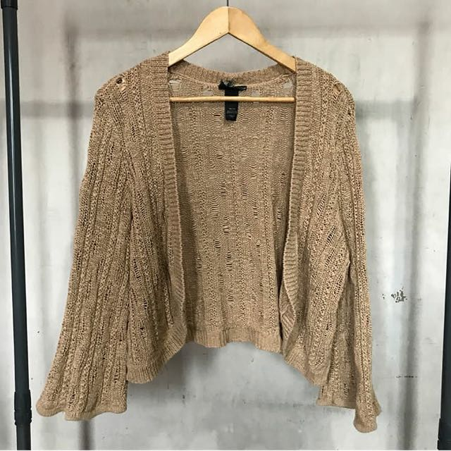 DISTRESSED OPEN CARDIGAN w/ bell sleeves