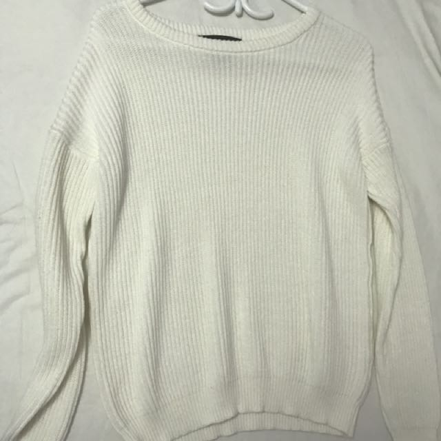 forever 21 white knit sweater